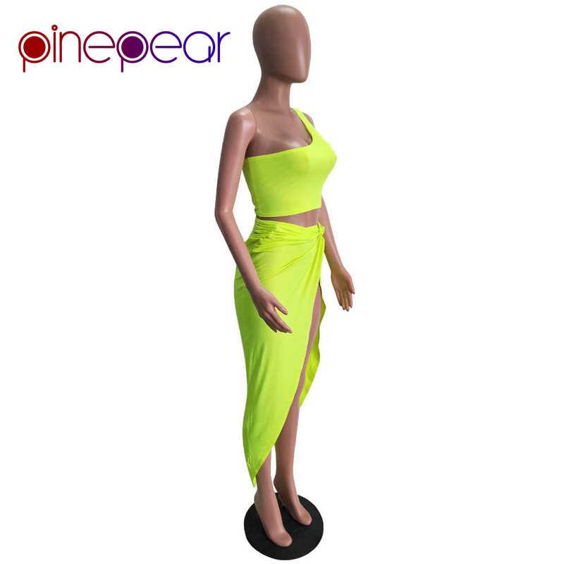 67e2a3f3c5 ... Kim Kardashian Dress for Women One Shoulder Crop Top and Draped Split  Skirt Sets 2019 New ...