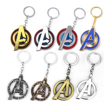20Pcs Wholesale The Avengers Metal Keychain Letter A Logo Enamel Key Chain Car Men Fans Bag Accessories