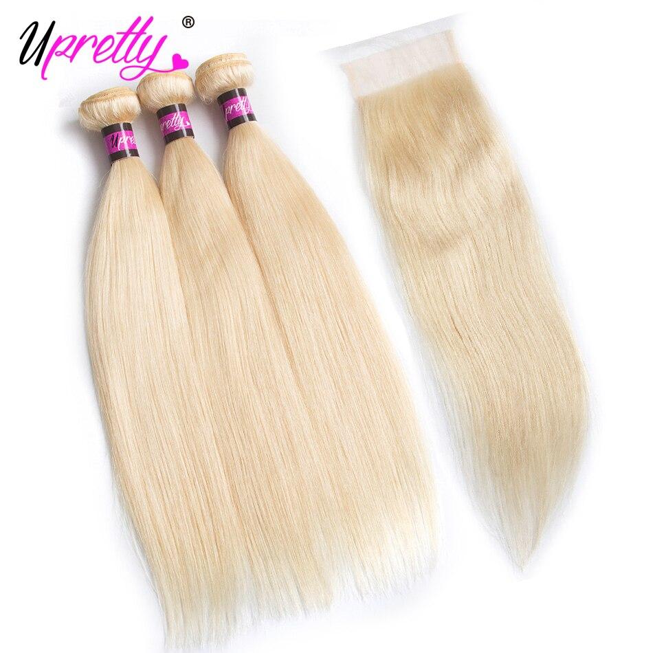Upretty Индийский прямые волосы 3 блондинка Связки с закрытием Бесплатная средняя часть 4 шт. 613 блондинка человеческих волос Связки с застежка