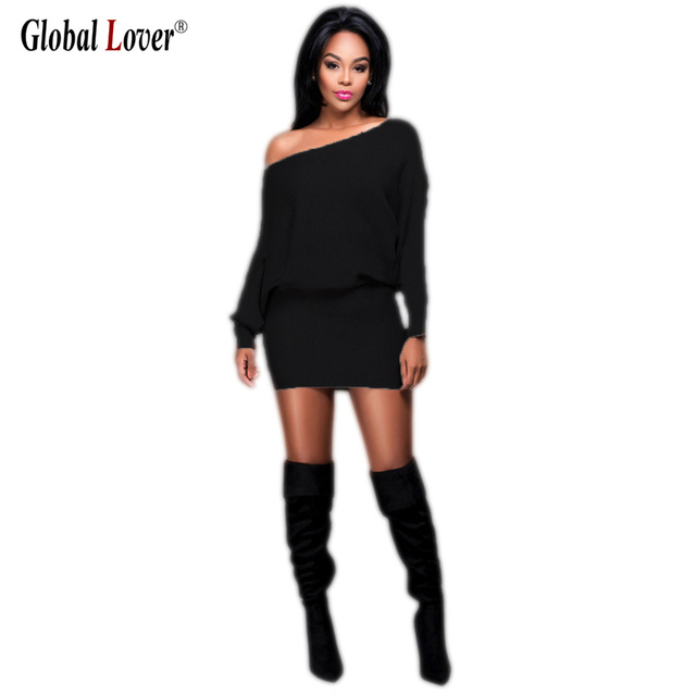 2016 Black Elegant One Shoulder Dress Women Plus Size Sexy Night