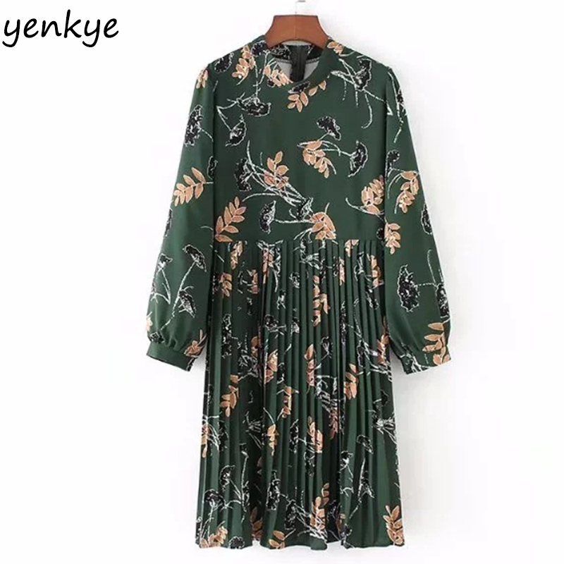 Spring 2018 Women Floral Printed Pleated Dress High Waist Female Stand Collar Long Sleeve Knee Length Dress FFWM351 high collar long sleeve printed dress