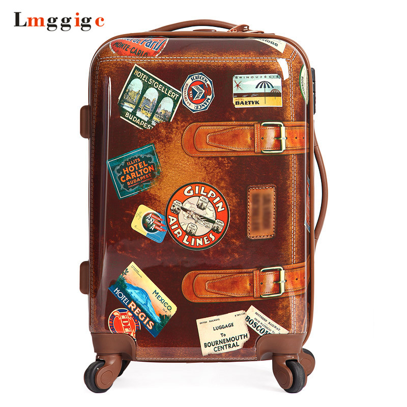 Women Vintage Rolling Luggage Travel Suitcase bag,Men Personality Universal Wheel Box,2024inch Fashion ABS+PC Trolley Case