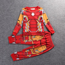 Clothing set clothing Captain america iron man Spider-Man Batman Hulk Raytheon Boys pajamas Clothing Children boy clothes