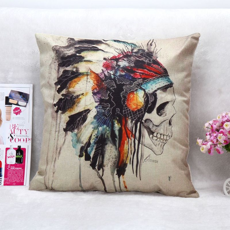 18 x 18Linen Cushion Cover Skull Printed For Sofa Decorative Cotton Pillow Throw Pillow Sofa Decor Couch