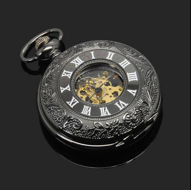 Relógios em Aço Steampunk dos Homens para Mulheres do Vintage Preto Clássico Inoxidável Preto Hunter Completa Homens Mão Winding Mecânica Pocket Ver
