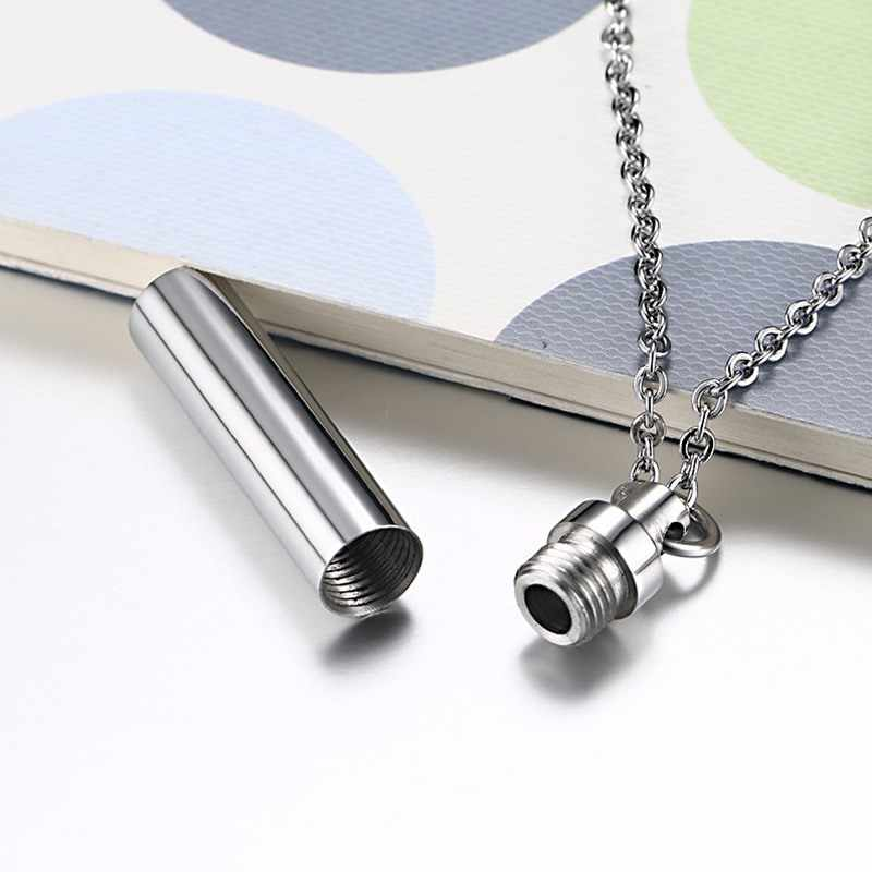 Men Woman Capsule Pendant Necklace in Silver Open Cylindrical Pendants Stainless Steel Remembrance Jewelry Pill Filler Kit
