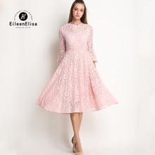 Cute Summer Dress 2017 Women Pink Lace Dress Long Sleeve New Arrive Spring Lace Dress
