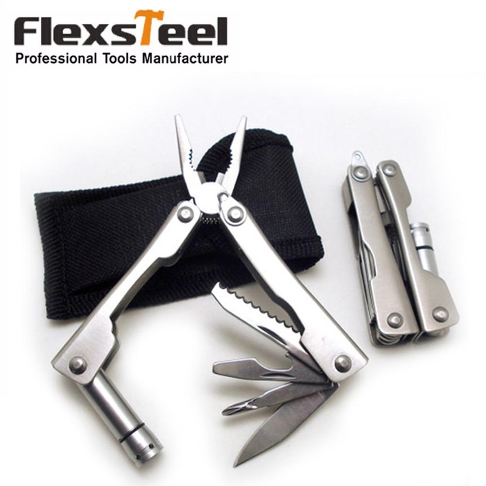 Stainless Steel Multi Tool Pocket Multifunctional Tool for Travel Folding Multipurpose Plier Multitool with Led Light Sliver