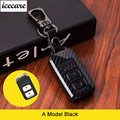 Leder Carbon Faser Auto Remote Key Fall Kette Keyless Fob Abdeckung Für Honda Civic 2017 Accord Fit CRV CR V XRV cross HRV JAZZ-in Schlüsseletui für Auto aus Kraftfahrzeuge und Motorräder bei