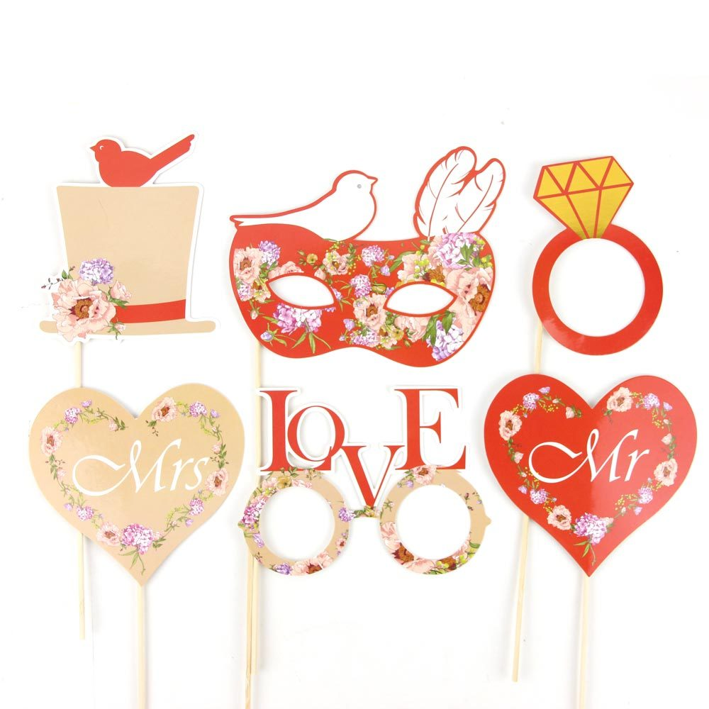 Red 15pcs Wedding Photo Booth Props Kit with Gold Sparkly Edge Holiday Song Lyric Photo Props on a Stick Wedding Signs
