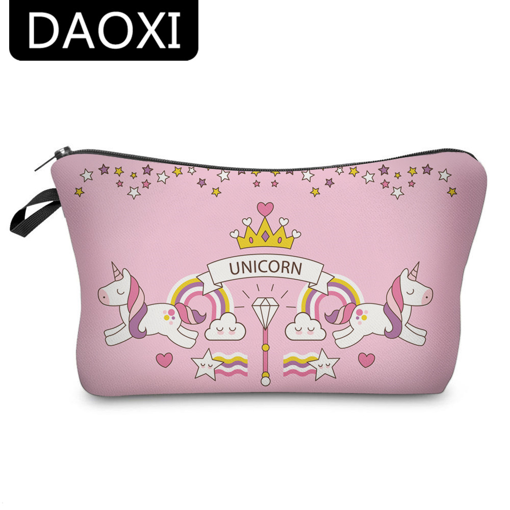 DAOXI Pink Makeup Bags 3D Printing Unicorn Storage Toiletries Necessary with Zipper YY10181
