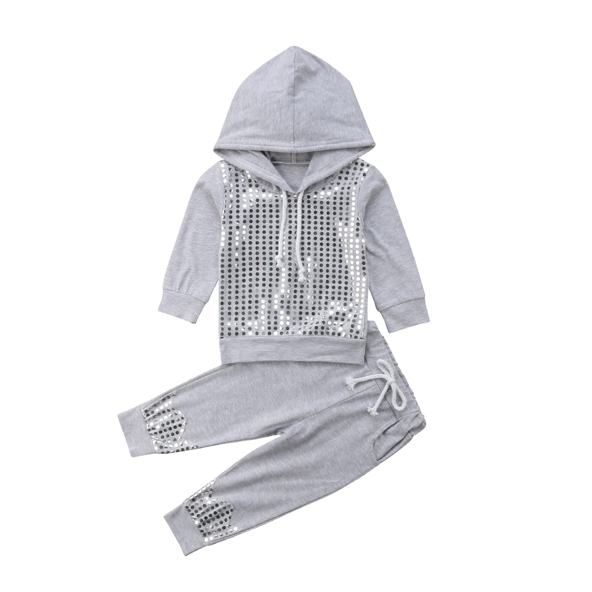 1-6Y Fashion Causal Autumn Winter Toddler Girls Clothes 2PCS Sequined Print Long Sleeve Hooded Pullover Sweatshirt Tops Pant