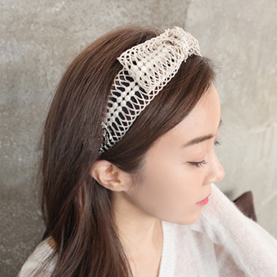 Haimeikang White Lace Hollow Weaving Hairband Big Top Bow Knot Women Hair Accessories   Headwear   Summer Hair Bands Headband