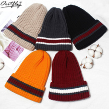 купить outfly Unisex classic autumn women cotton hats winter warm knitted stripe cap for men fashion female skullies beanies hip hop ha дешево
