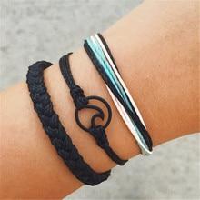3 PCS/Set Wave Weaved Rope Bracelet Bangles For Women Chain Ethnic Handmade hand Jewelry DropShipping цена