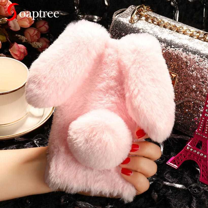 Leuke Zachte Pluizige Konijn Warm Bont Case Voor Bq Actieve 1 Plus Case Kunstmatige Leuke Furry Cover Voor Bq 5591 5060 Vreugde 1 Plus Covers