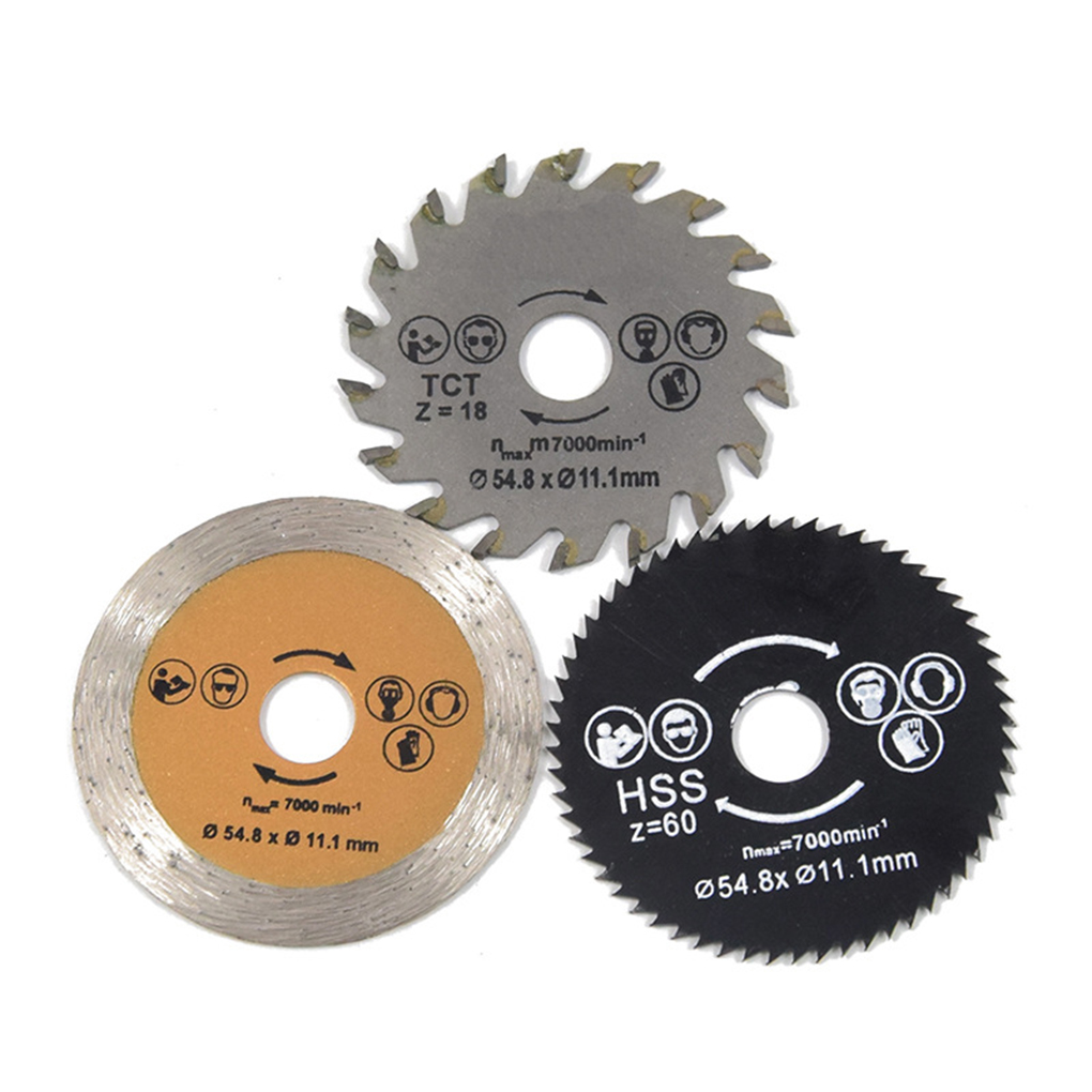 3pcs 54.8mm Diameter Mini Circular Saw Blade High Speed Steel Woodworking Cutting Tools With Mandrel