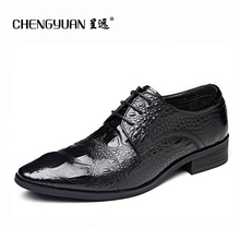 Men leather business leather shoes men's luxury crocodile pattern black red business buckle dress gentlemen wedding shoes 37-44