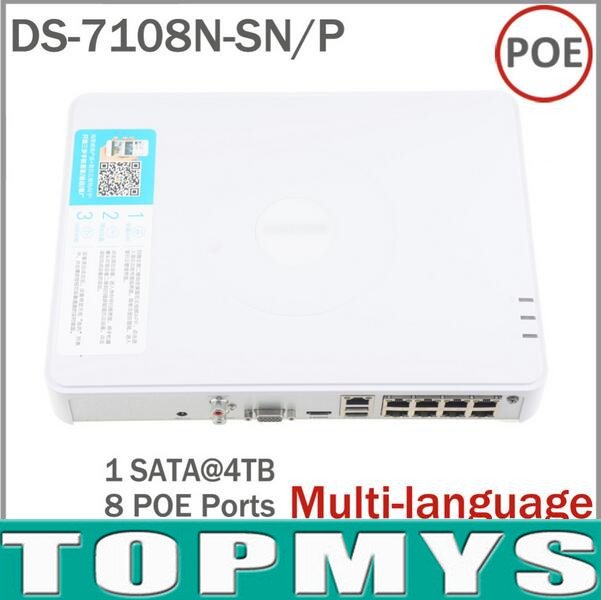 Big Promotion Multi-language DS-7108N-SN/P Plug & Play 8CH PoE NVR for HD IP Camera with 8 Independent PoE NVR for Hik IP Camera hik multi language ds 2cd6412fwd camera ds 2cd6412fwd c2 poe pinhole covert separated network camera for shop home surveillance