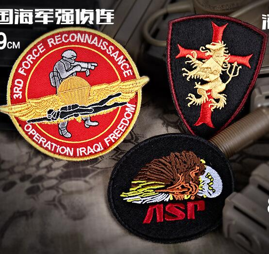 Embroidery Seal Team Six Patch 3rd Force Reconnaissance Hook Tactical Patch Cloth ASP Morale Armband Army Combat Badge 3pcs