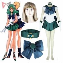 Athemis Anime Sailor Moon Michiru Kaioh/ Sailor Neptune Cosplay Costume custom made Dress High Quality athemis gane assassin s creed female assassin cosplay costume custom made set high quality