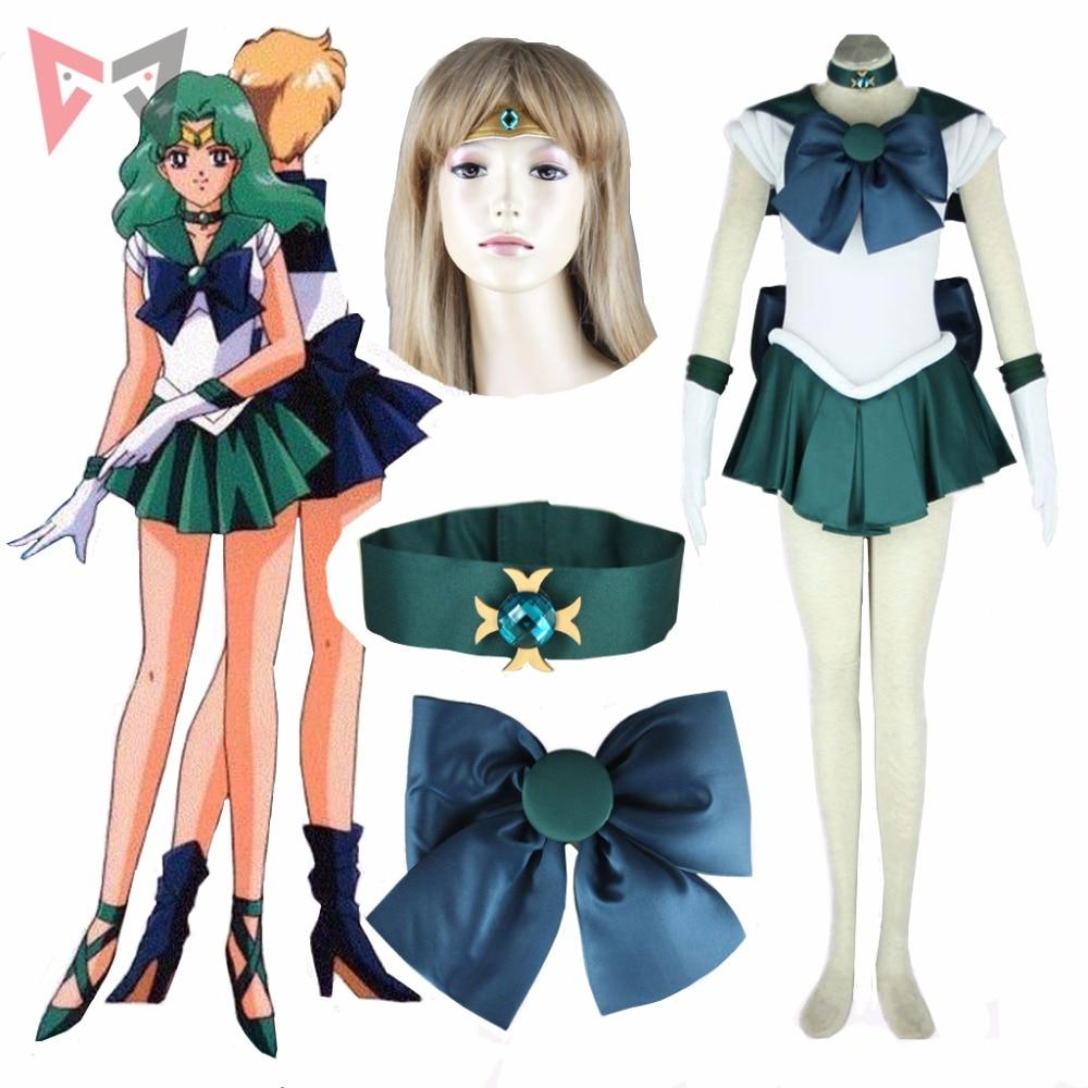 Anime Sailor Neptune Cosplay Costume custom made Michiru Kaioh  Dress for child adult Halloween set