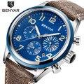 BENYAR новые роскошные брендовые Модные мужские кварцевые синие часы армейские военные часы с хронографом кожаные мужские наручные часы Relogio ...