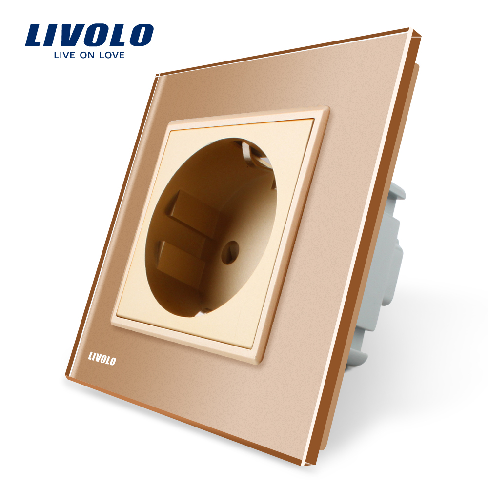 Livolo EU Standard Power Socket, Golden Crystal Glass Panel, AC 110~250V 16A Wall Power Socket, VL-C7C1EU-13