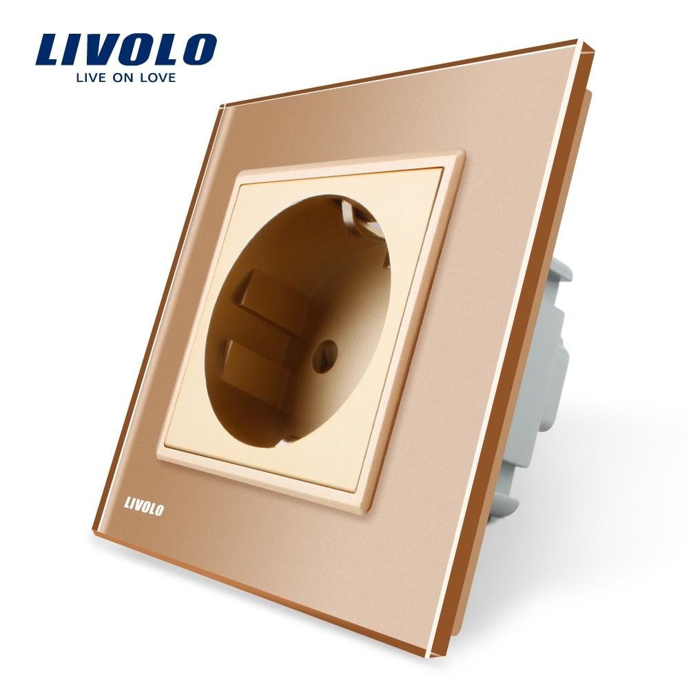 Livolo EU Standard Power Socket, Golden Crystal Glass Panel, AC 110~250V 16A Wall Power Socket, VL-C7C1EU-13