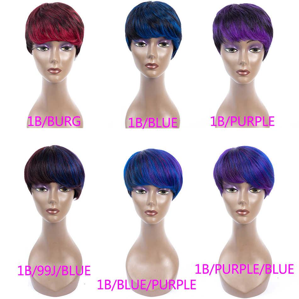 Sophie's бразильский Боб парик короткие человеческие волосы парики для черных женщин прямые волосы Реми парик 1b фиолетовый 99j синий Омбре человеческих волос парик