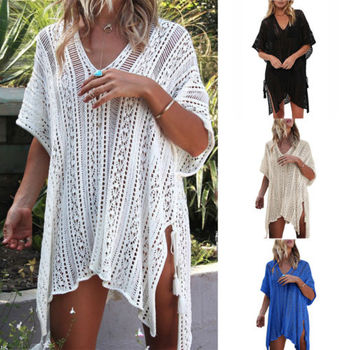 Summer Boho Beach Bandage V-Neck Shirts Tops 1