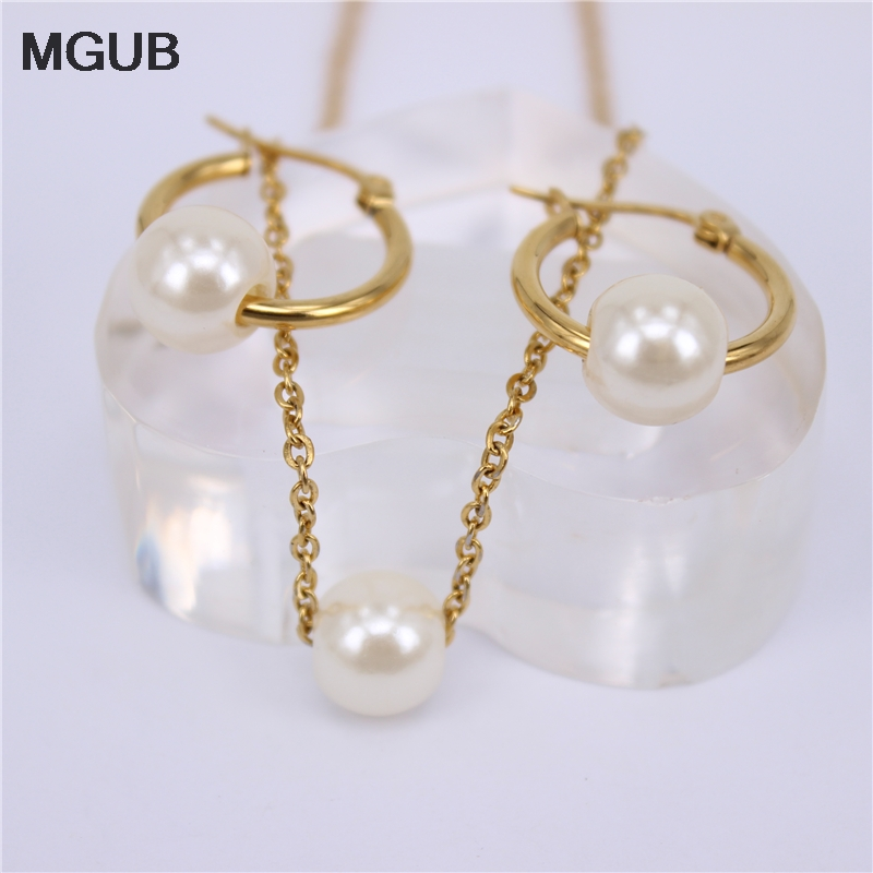 MGUB Gold color 7 kinds of size 30-100mm Hoop earring Imitation pearls Pendant chain stainless steel jewelry Sets LH577