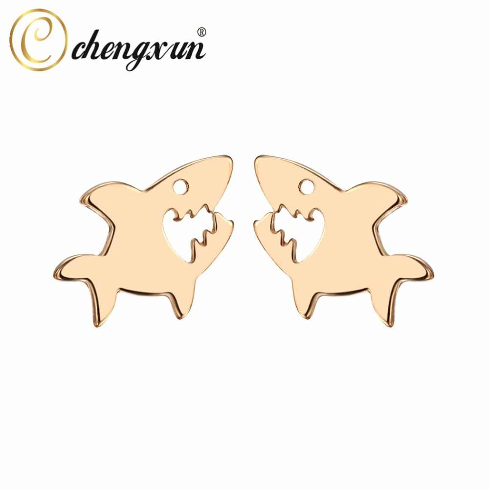 CHENGXUN Simple Cute Women Girls Tiny Shark Post Stud Earrings Lovely Animal Jewelry Hypoallergenic Dropshipping Gift