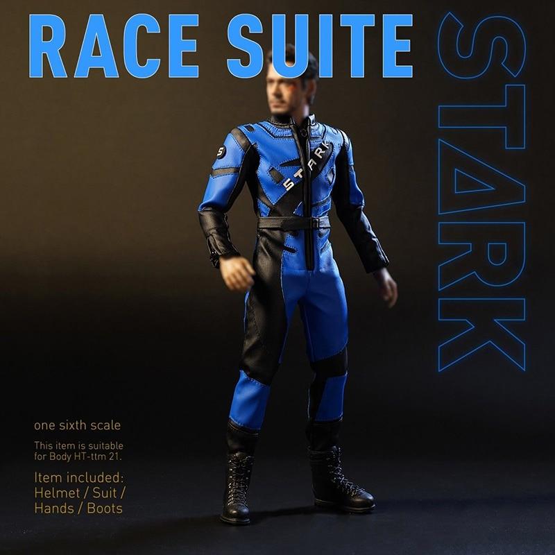 """1/6 báscula azul DJ 012 Iron Man 2 Tony War casco de carreras casco sin cabeza Sculpt 12"""" figura de acción cuerpo acc-in Figuras de juguete y acción from Juguetes y pasatiempos    3"""