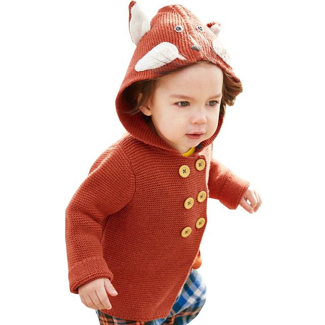 Alta Calidad 2017 de Invierno Niños Niñas Suéter cardigan Niños Boys Suéter Capucha Niños Ropa de Punto