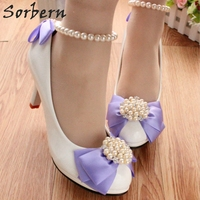 Sorbern Light Purple Satin Bow Wedding Party Shoes For Women 8Cm /5Cm/3Cm Heels White Bridal Shoes Beading Straps Designer Heels