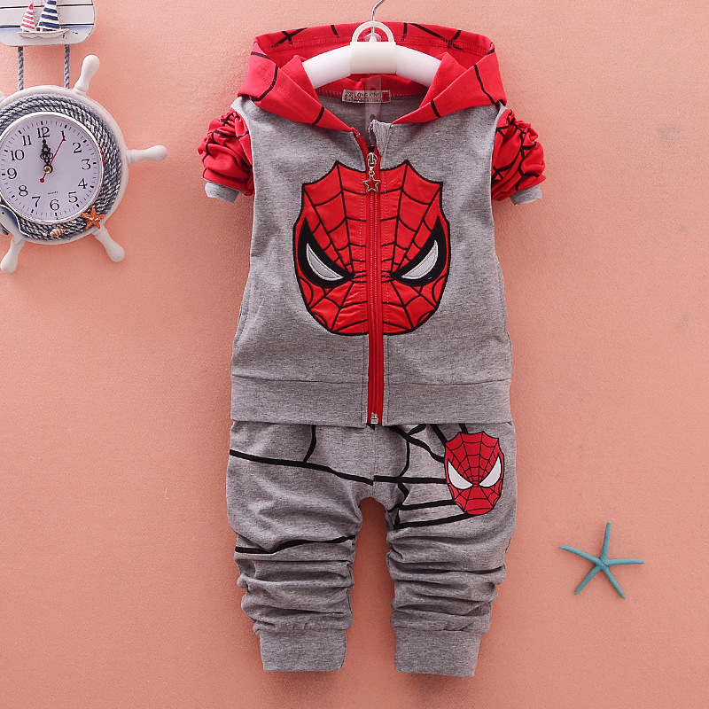 Spring Spiderman Sports Suit 2pcs Cartoon Hoodies Pants Toddler Children Clothing Set Boys Girls Tracksuit Cosplay