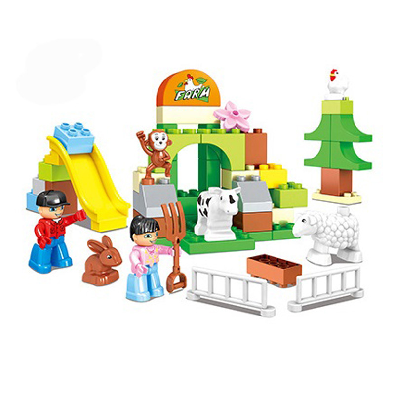 54pcs Happy Farm Animal Building Blocks Sets DIY Educational Bricks Toys Compatible LegoINGly Duploe Animals ...