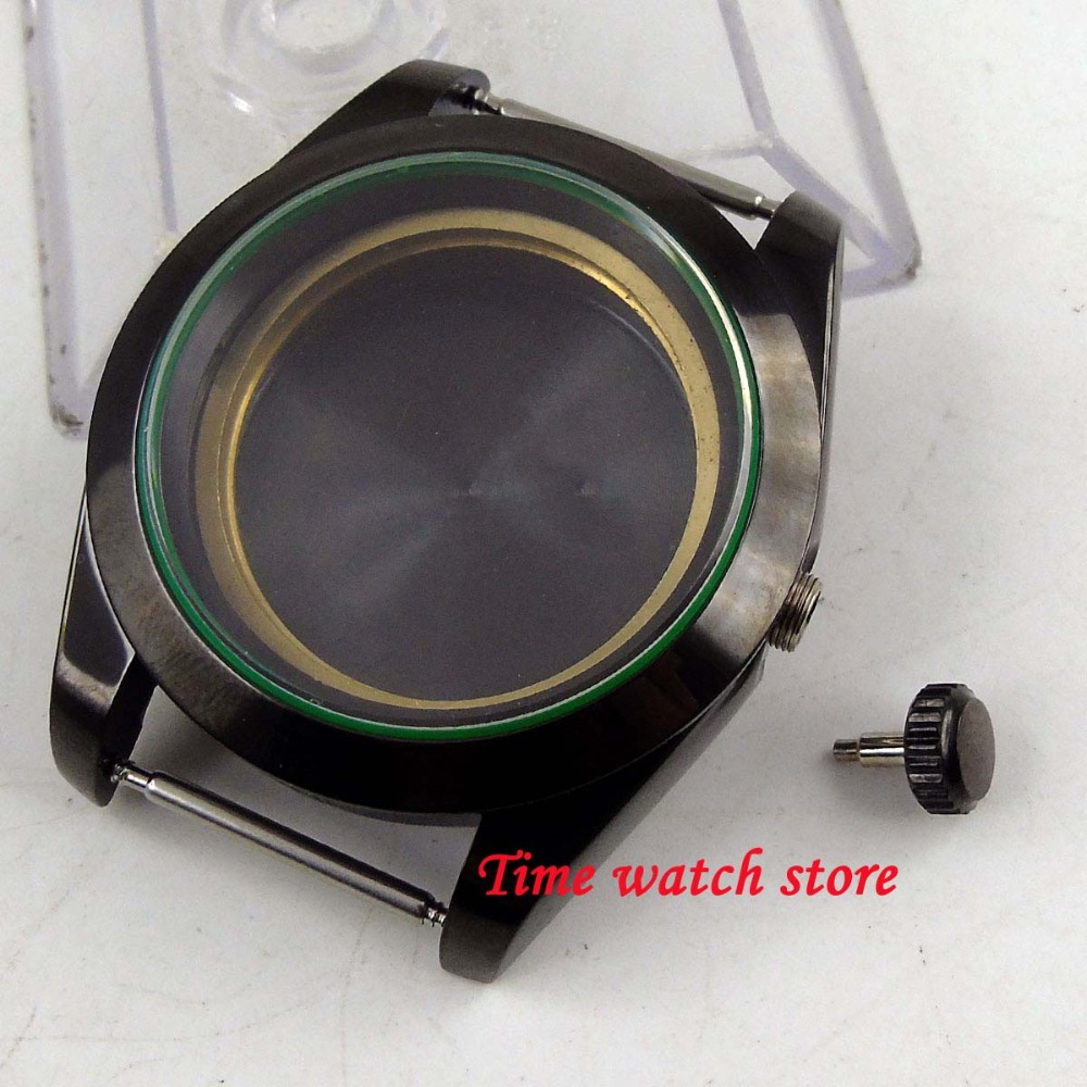 40mm PVD coated watch case fit ETA 2836 Mingzhu 2813 Miyota 8215 821A movement sapphire glass