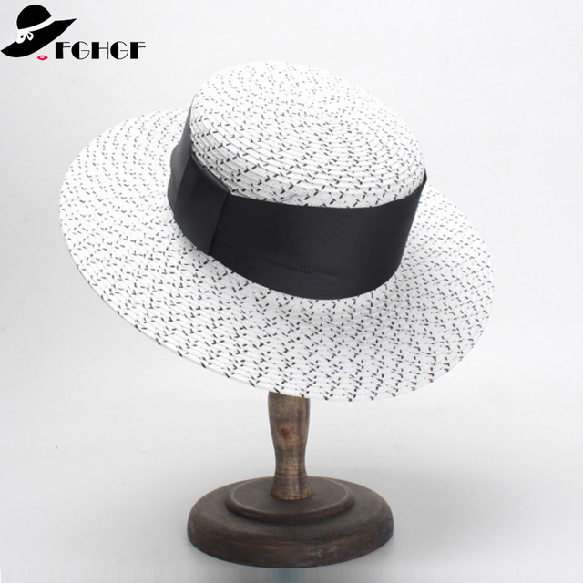 d927cc6405640 2019 Classical Women Sun Hat Cap Ribbon Bow Paper Straw Hat White Black  Wide Brim Kentucky Derby Hat Summer Boater Hat Beach Cap