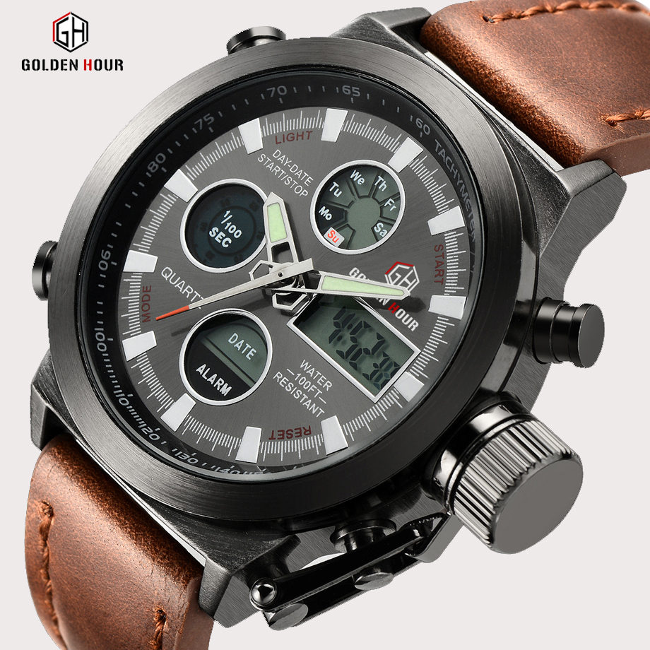 Top Brand Luxury Men Swimming Quartz Analog Outdoor Sports Klockor Militär Man Clock Time LED Display Visa Relogio Masculino