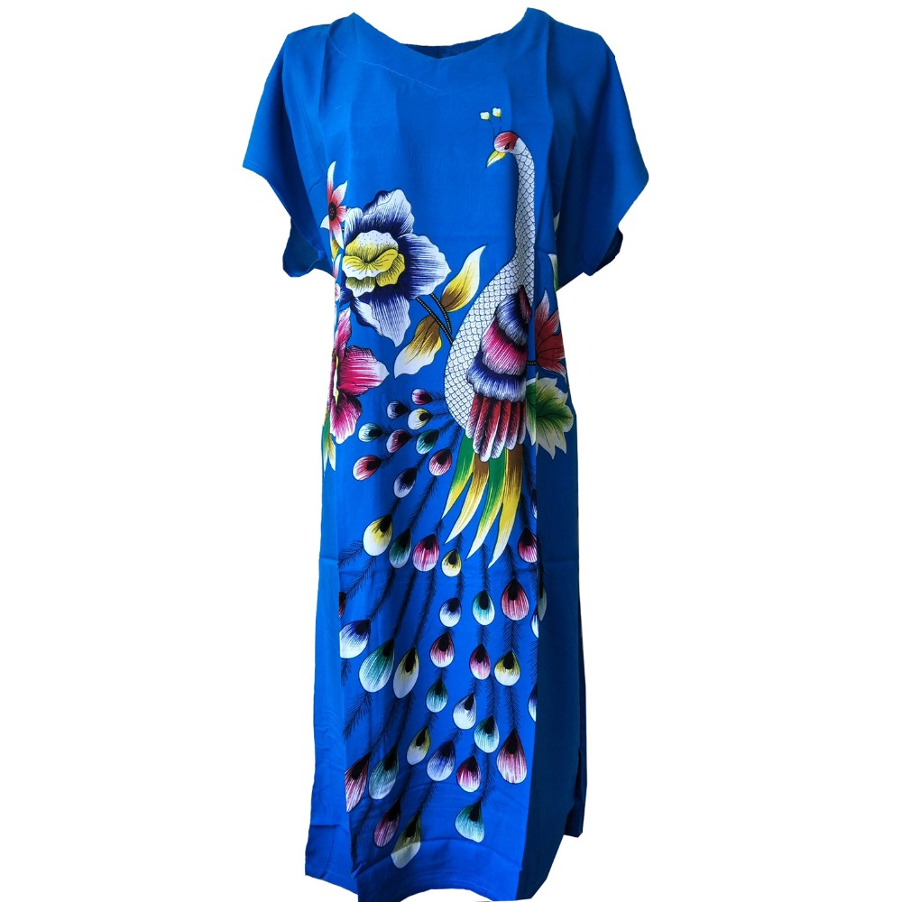 Royal Blue Butterfly Women's Cotton Robe Summer Casual Home Dress Gown V-Neck Nightgown Sleepwear Long Bathrobe One Size WR082