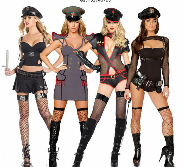 2016 Hot Sexy Uniform Temptation Couples Black Cop Costumes Halloween For Women Men Game Stage Bar Police Costume Cosplay