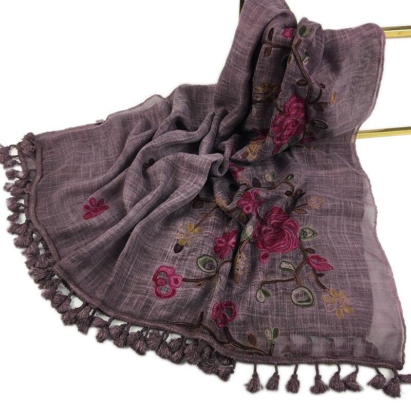 2019 Autumn Winter Embroider Viscose Shawl Scarf With Pom Pom High Quality Warm Pashmina Stole Bandanas Mujer Muslim Hijab Sjaal