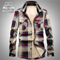 AFS JEEP Cashmere Inner Keep Warmly Full Sleeve Shirt,100% Cotton Man's Leisure Plaid Loose Workers Working Cargo Shirt Warmly