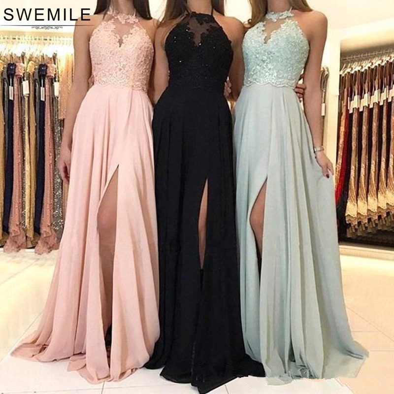 SWEMILE Chic Halter Neck Lace   Bridesmaid     Dresses   Sexy Open Back Wedding Party   Dress   with Slit Robe Demoiselle D'honneur