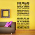 Wall Sticker Art Home Decoration House Rules Quote French Words Home Rules Creed Character Decals