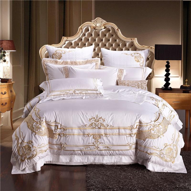 4 6 9Pcs Egypt cotton Luxury Royal Golden embroidery Bedding Set Queen King Size Duvet Cover