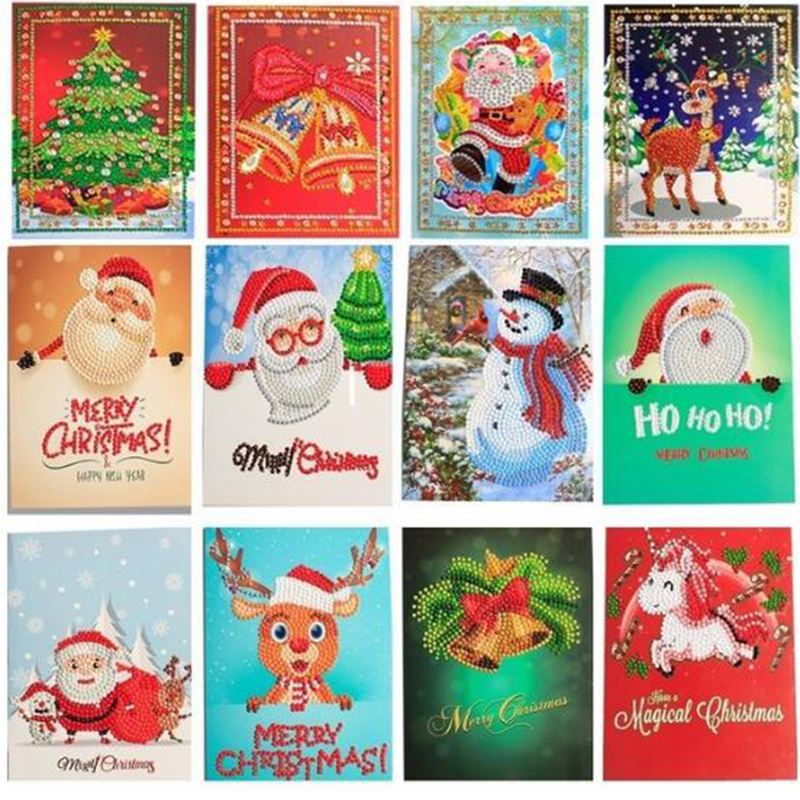 Cards Paper Diamond-Painting Greeting-Postcards Merry-Christmas Craft Cartoon Mini Festival