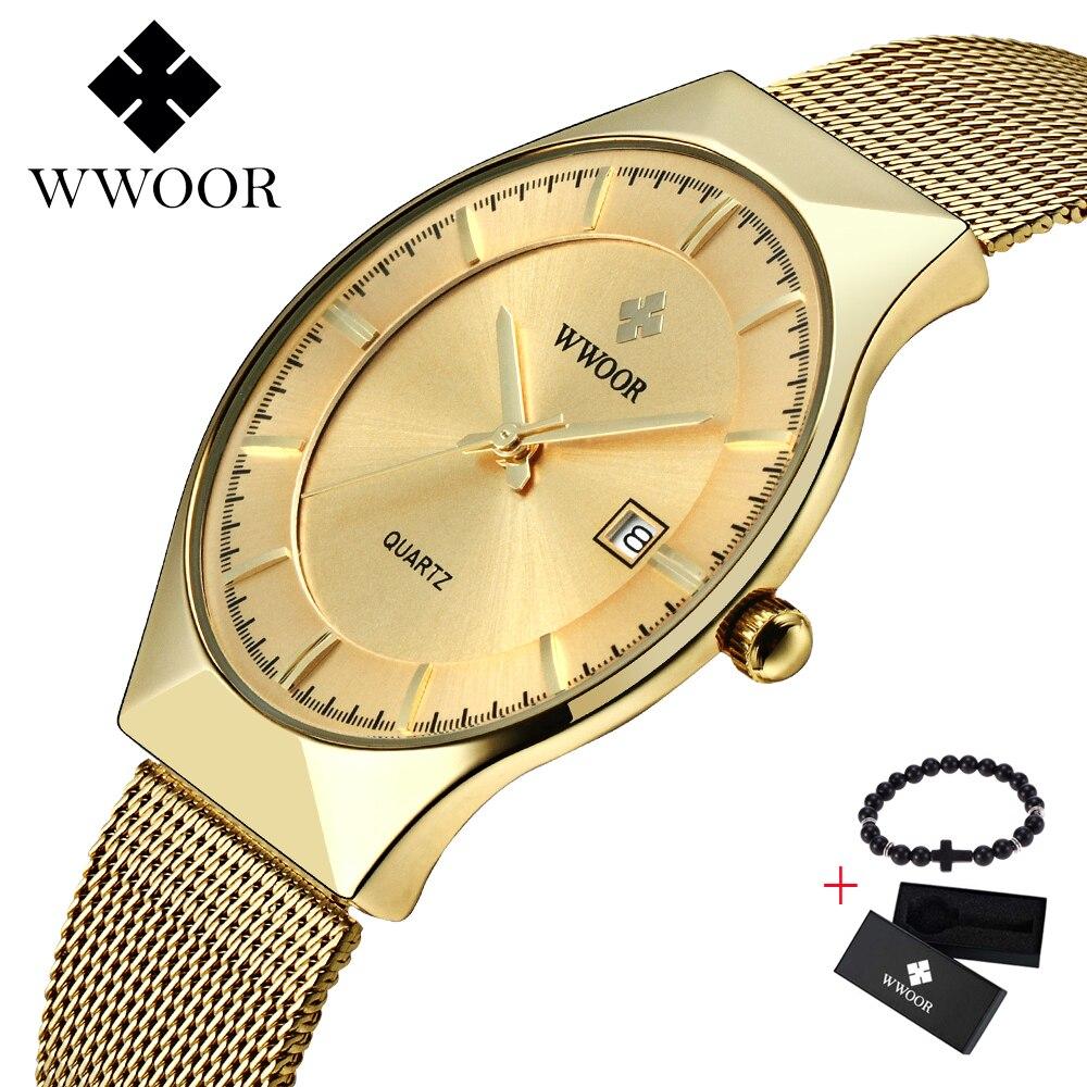 WWOOR мужские часы Топ бренд класса люкс спортивные часы ультратонкие сетчатые повседневные водонепроницаемые кварцевые часы мужские золоты...